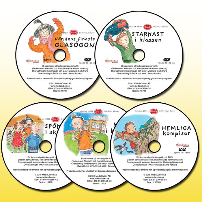 Bild på 5 dvd-skivor i serien Klass 1b