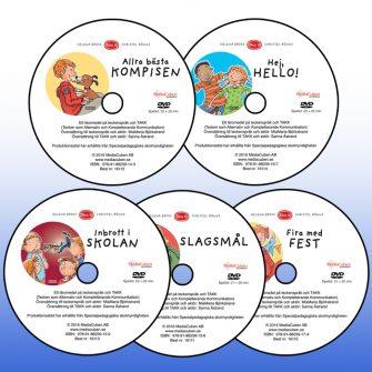 Bild på fem dvd: Allra bästa kompisen, Hej, hello!, Inbrott i skolan, Slagsmål och Fira med fest
